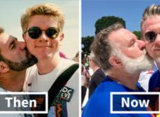 """Istospolnemu paru so govorili, da njuna ljubezen """"le faza"""". Čez 25 let naredita isto fotografijo. Je bilo le obdobje?"""