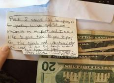 Parkiral je na njenem mestu in morala je parkirati na plačljivem mestu. Naslednji dan je za brisalcem našla ovojnico ...