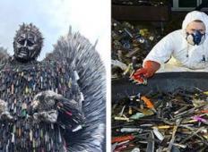 Umetnik naredi angela iz nožev, kot spomin na žrtve nasilnih dejanj