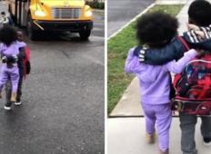 Vsak dan tale bratec in sestrica gresta skupaj domov z avtobusne postaje. Ganilo vas bo, kar si govorita eden drugemu ...