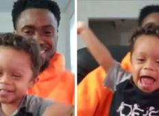 2-letnik z Downovim sindromom praznuje 11 mesecev brez raka s svojim očetom.