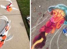 Mati in hči ustvarjata osupljive umetnine s kredo, da bi spravili sosede v boljšo voljo!